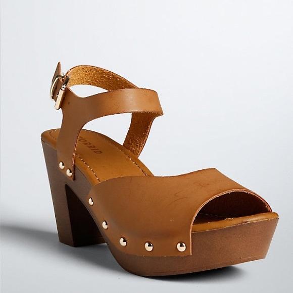 Wooden Heel Platform Sandals Wide Width
